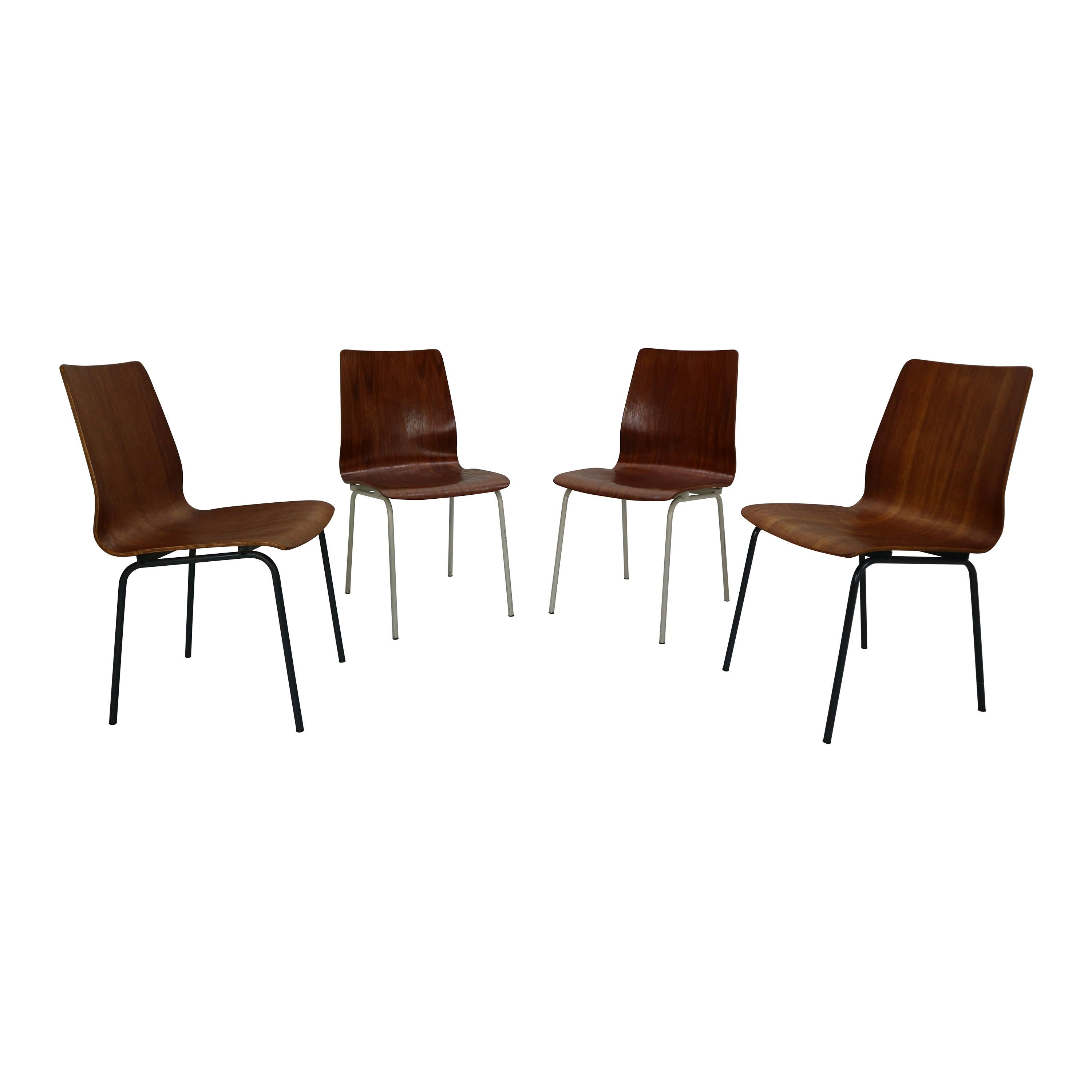 """Set of 4 Teak Dinning Room Chairs """"Euroika"""" by Fristo Kramer for Auping, 1950s"""