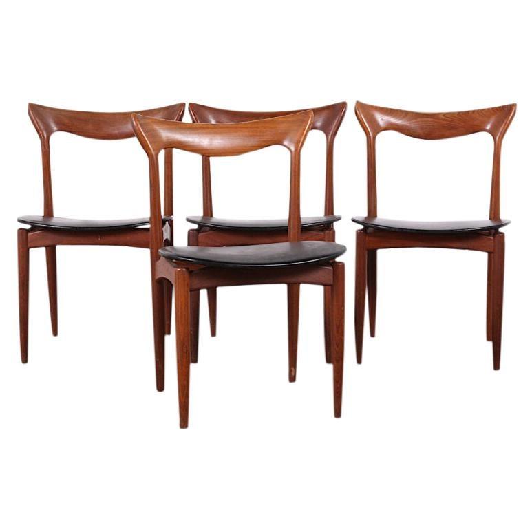 Set of 4 Teak Mid-Century Modern Dining Chairs by Henry Walter Klein, C.1960