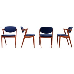 Set of 4 Teak Model 42 Dining Chairs by Kai Kristiansen for Andersen, Denmark