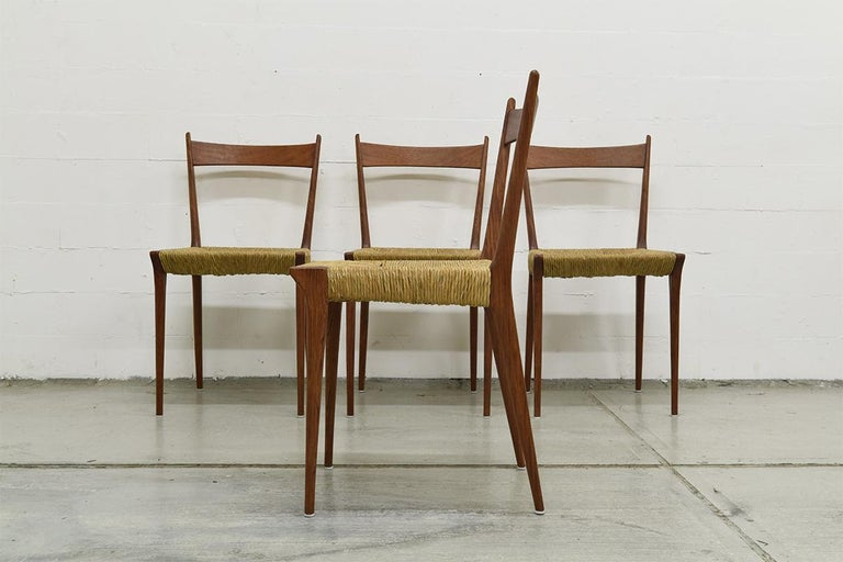 Mid-20th Century Set of 4 Teak S2 Dining Chairs by Alfred Hendrickx for Belform, 1960s For Sale