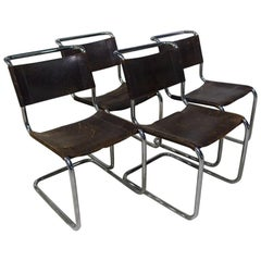 Set of 4 Thonet S33 Buffalo Leather Chromed Dining Chairs by Mart Stam, 1926