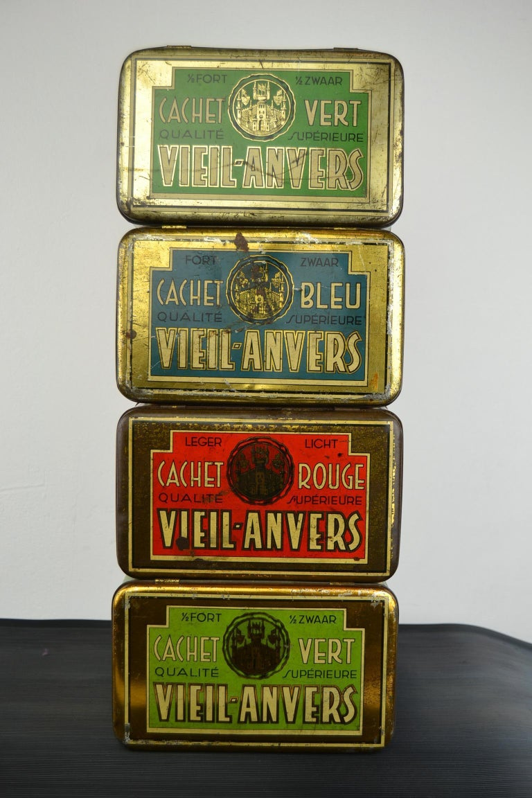Set of 4 Tobacco Boxes Antwerp, Belgium, 1950s For Sale 3