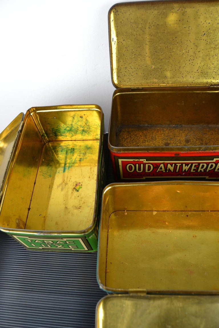 Set of 4 Tobacco Boxes Antwerp, Belgium, 1950s For Sale 7