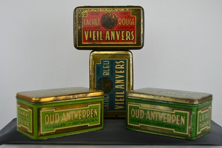 1950s Set of 4 Tobacco Boxes - Tobacco Tins - Cigar Boxes. These Tins are in different colors: red, blue, green and light green what makes them great to display.  Vintage Tins Tobacco Vieil Anvers, Old Antwerp. Cigar Company Verellen.  All in good