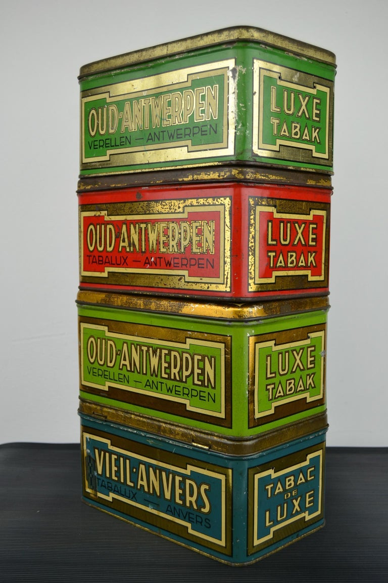 Mid-Century Modern Set of 4 Tobacco Boxes Antwerp, Belgium, 1950s For Sale