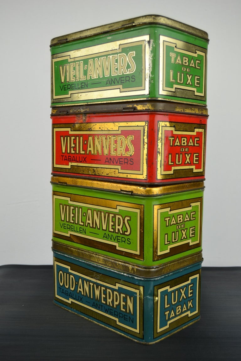 Set of 4 Tobacco Boxes Antwerp, Belgium, 1950s In Good Condition For Sale In Antwerp, BE