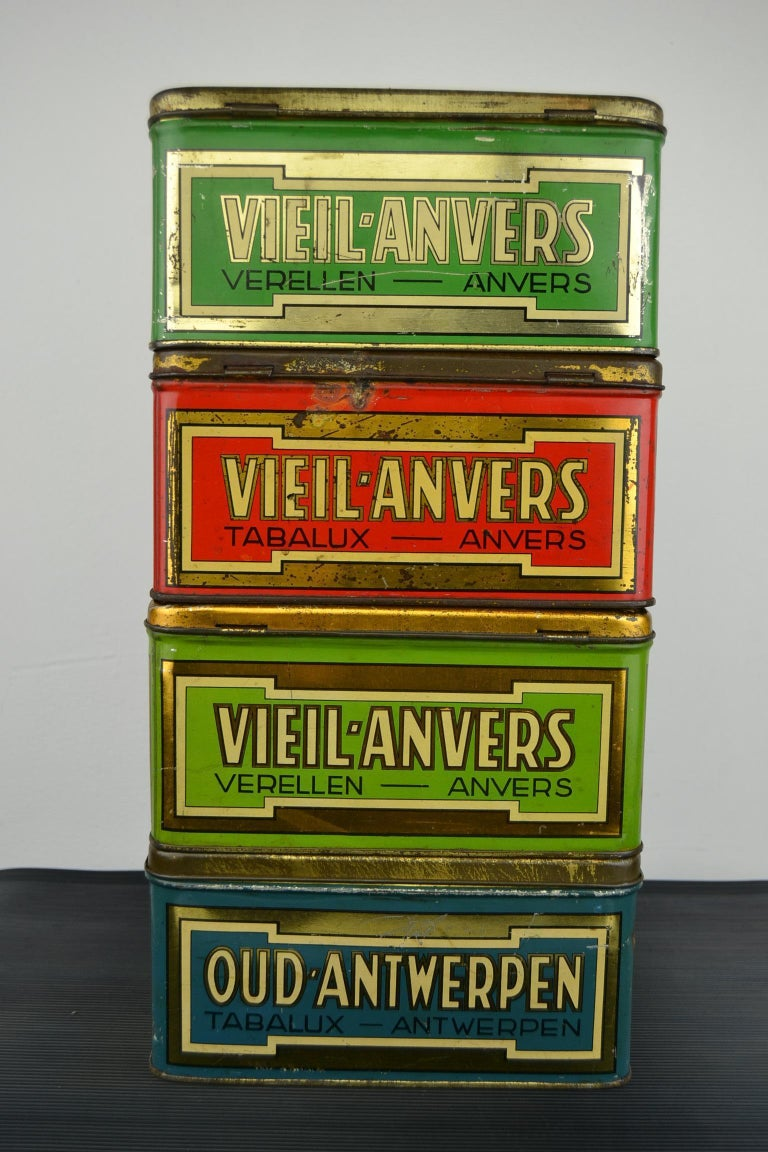 20th Century Set of 4 Tobacco Boxes Antwerp, Belgium, 1950s For Sale