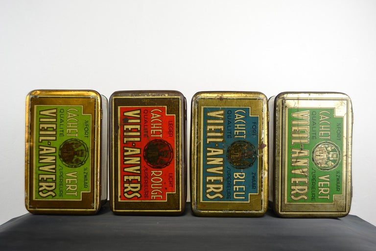 Set of 4 Tobacco Boxes Antwerp, Belgium, 1950s For Sale 1