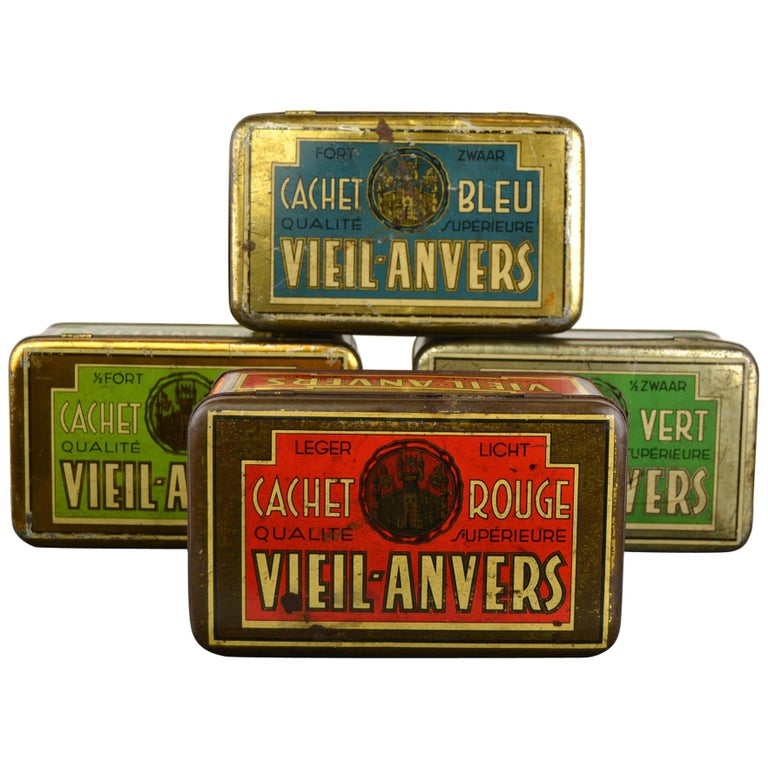 Set of 4 Tobacco Boxes Antwerp, Belgium, 1950s For Sale