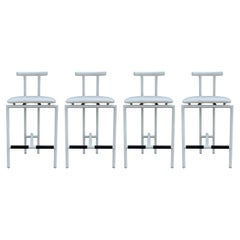 Set of 4 Tokyo Mid Century Post Modern Bar or Counter Stools in White from Italy