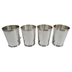 Set of 4 Traditional Sterling Silver Mint Julep Cups by Manchester