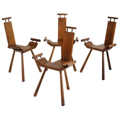 Set of 4 Tripod chairs, France, 1950