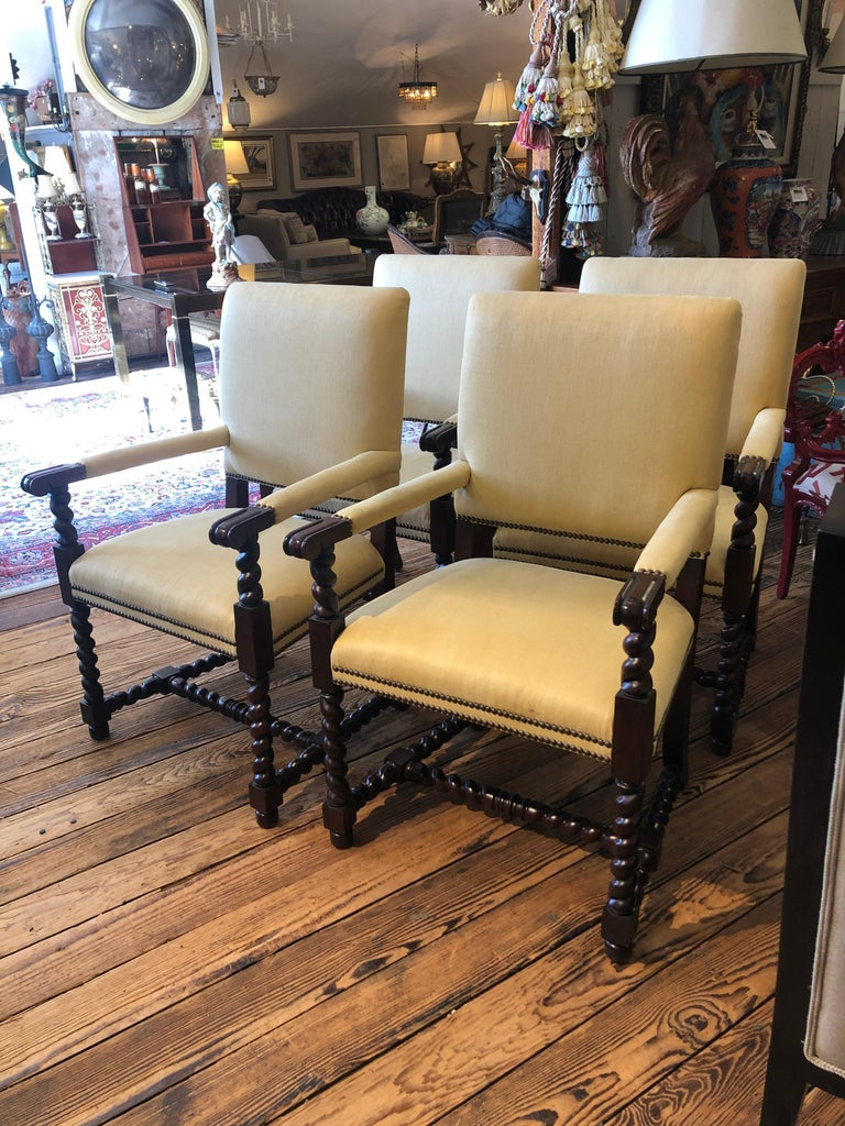 Set of 4 Tudor Style Mahogany Armchairs Dining Chairs with Barley Twist Legs For Sale 4