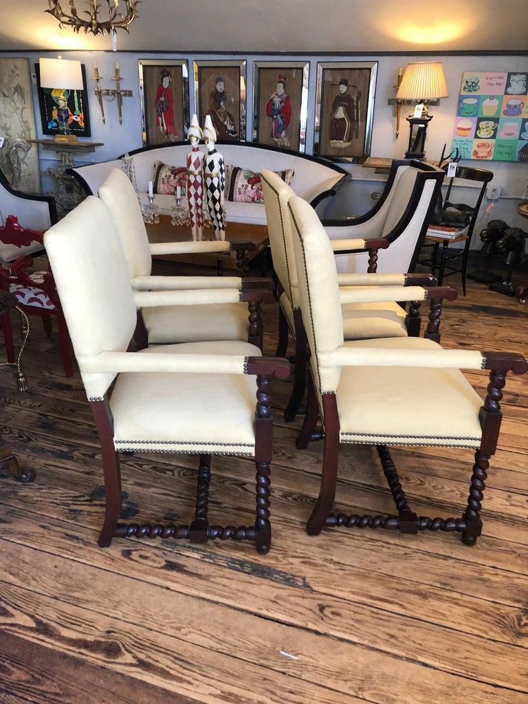 Set of 4 Tudor Style Mahogany Armchairs Dining Chairs with Barley Twist Legs For Sale 5