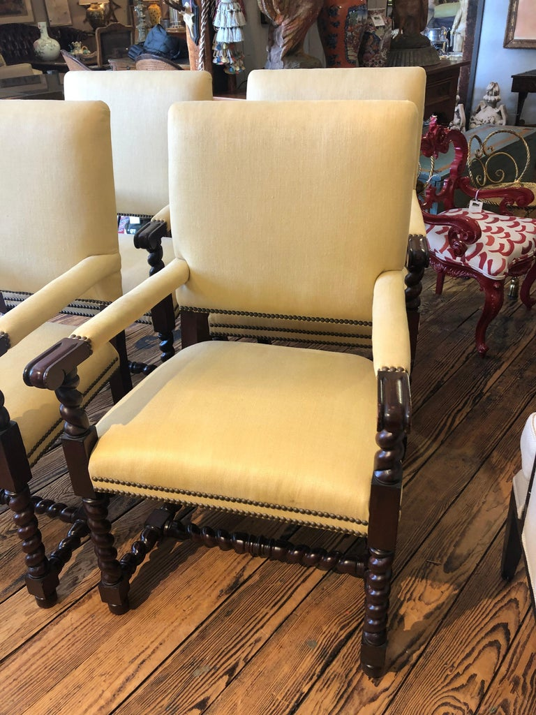 Set of 4 Tudor Style Mahogany Armchairs Dining Chairs with Barley Twist Legs For Sale 6
