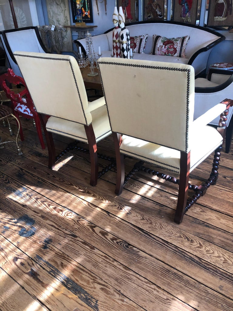 American Set of 4 Tudor Style Mahogany Armchairs Dining Chairs with Barley Twist Legs For Sale