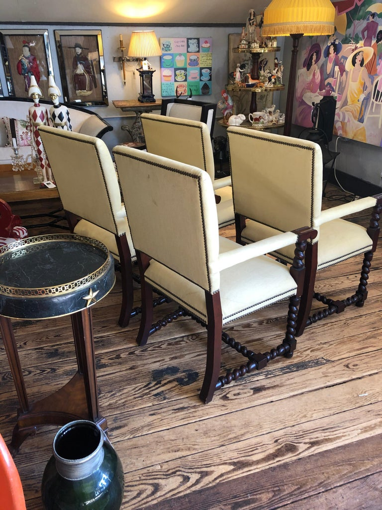 Set of 4 Tudor Style Mahogany Armchairs Dining Chairs with Barley Twist Legs In Good Condition For Sale In Hopewell, NJ