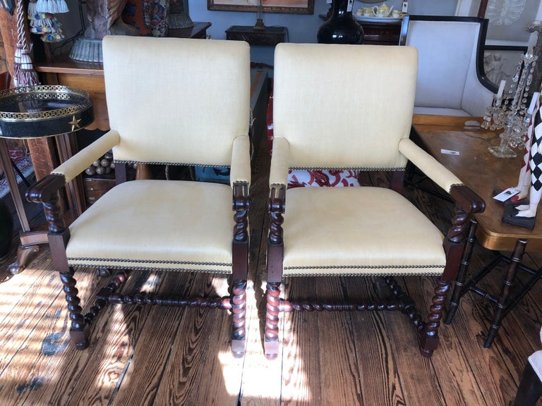 Mid-20th Century Set of 4 Tudor Style Mahogany Armchairs Dining Chairs with Barley Twist Legs For Sale