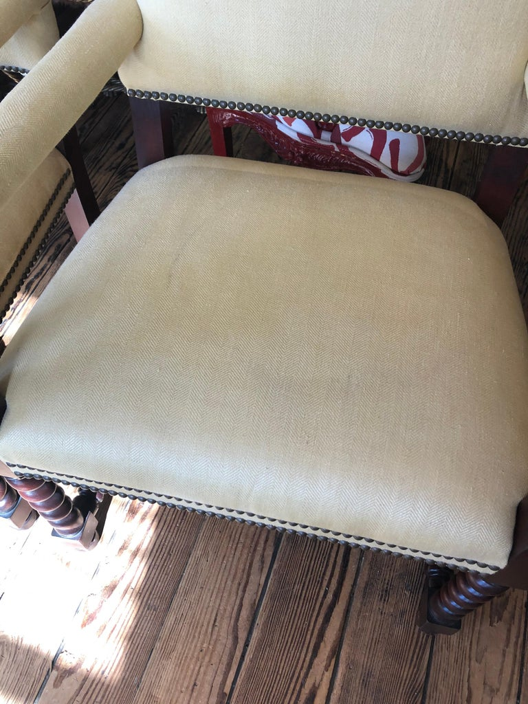 Set of 4 Tudor Style Mahogany Armchairs Dining Chairs with Barley Twist Legs For Sale 1