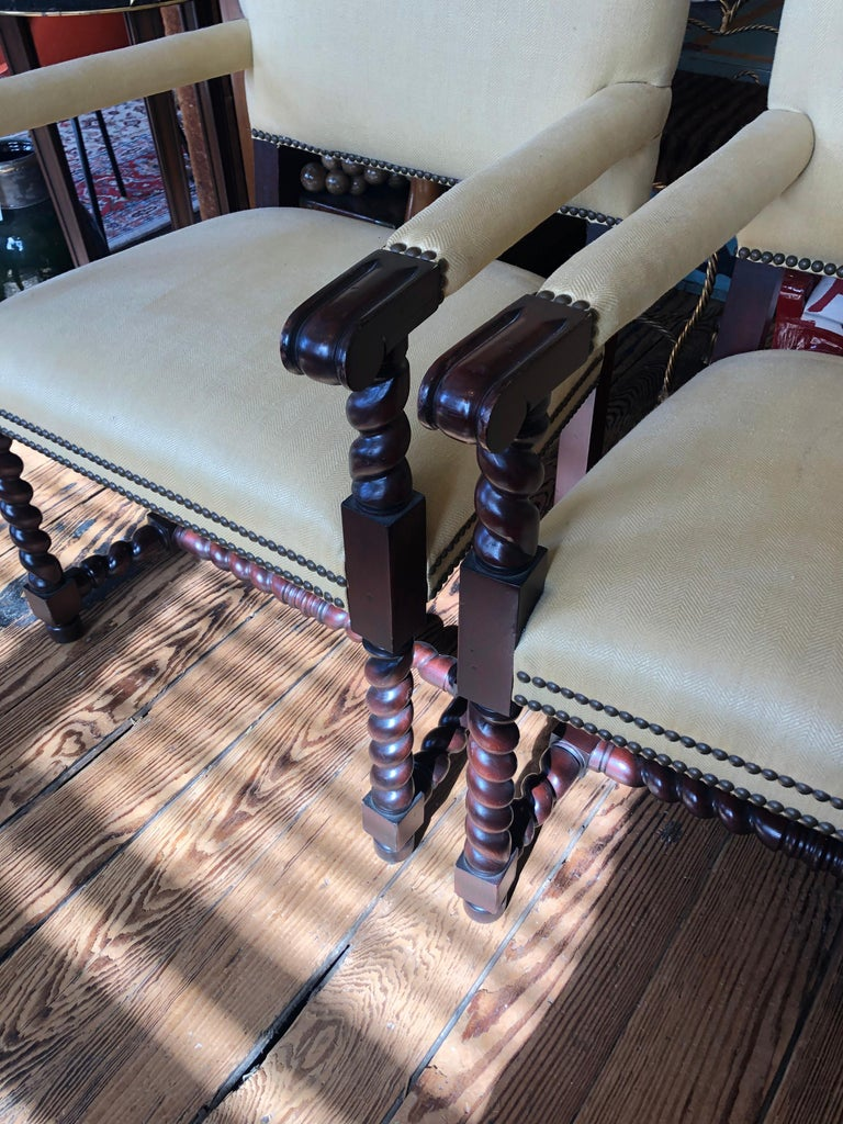 Set of 4 Tudor Style Mahogany Armchairs Dining Chairs with Barley Twist Legs For Sale 2