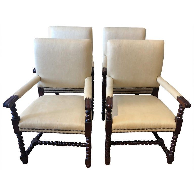 Set of 4 Tudor Style Mahogany Armchairs Dining Chairs with Barley Twist Legs For Sale