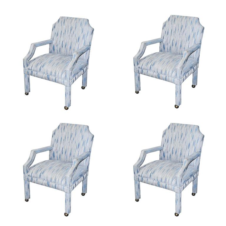 Mid-Century Modern Set of 4 Upholstered Midcentury Dining Room Armchairs, After Milo Baughman For Sale
