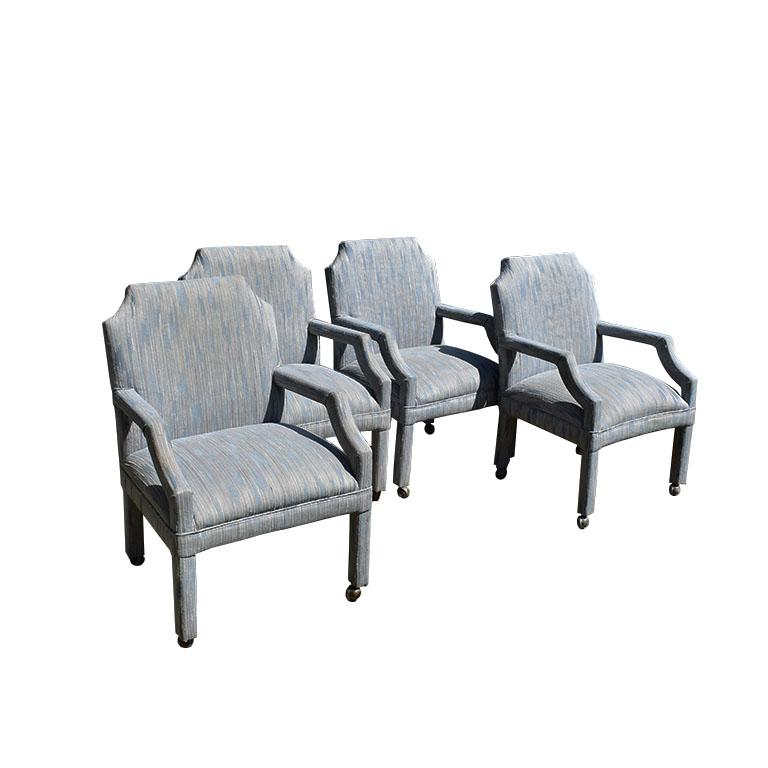 American Set of 4 Upholstered Midcentury Dining Room Armchairs, After Milo Baughman For Sale