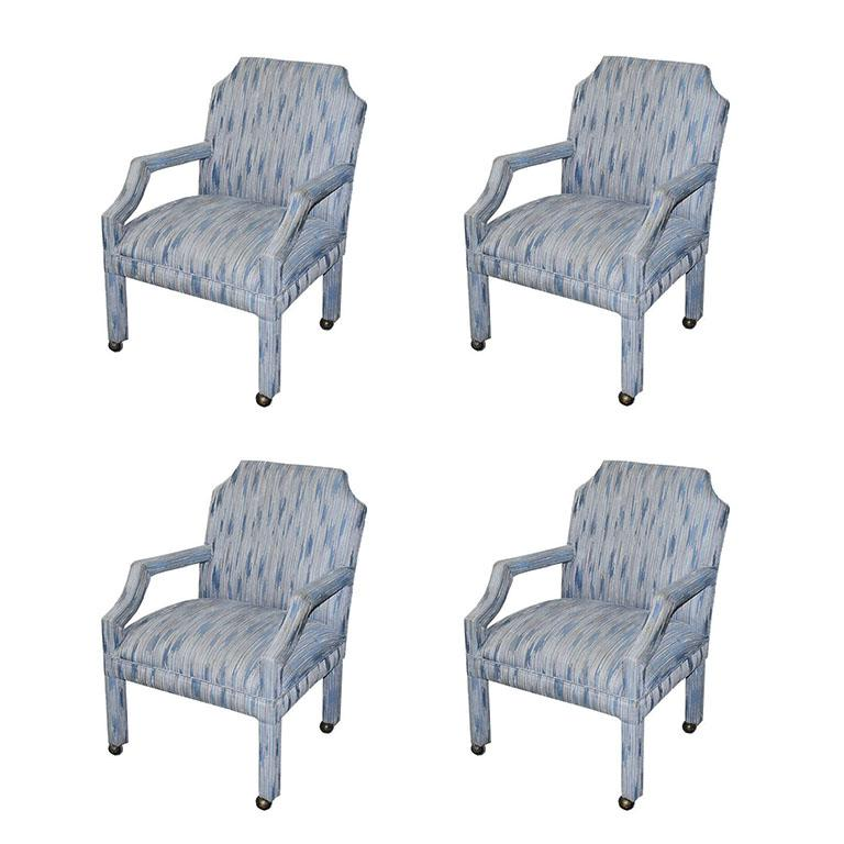 Set of 4 Upholstered Midcentury Dining Room Armchairs, After Milo Baughman For Sale 2