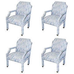 Set of 4 Upholstered Midcentury Dining Room Armchairs, After Milo Baughman