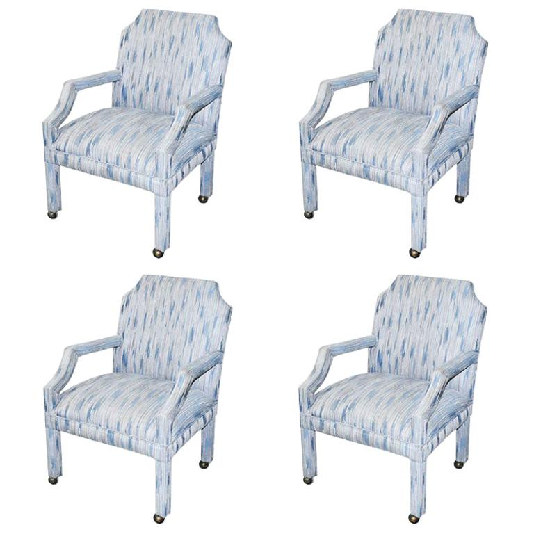 Set of 4 Upholstered Midcentury Dining Room Armchairs, After Milo Baughman For Sale