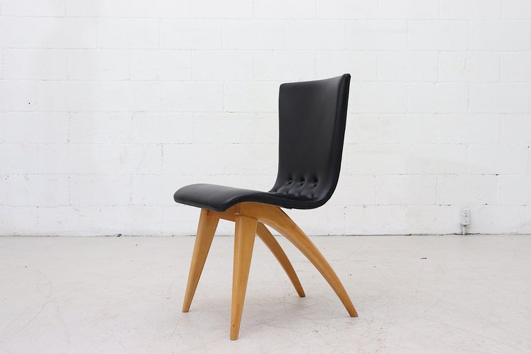 Mid-Century Modern Set of 4 Van Os Black Dining Chairs For Sale