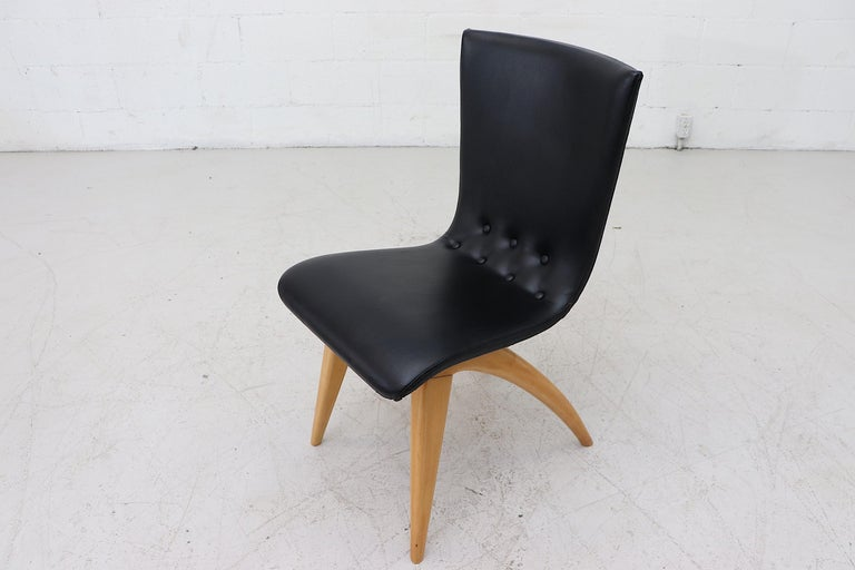 Upholstery Set of 4 Van Os Black Dining Chairs For Sale