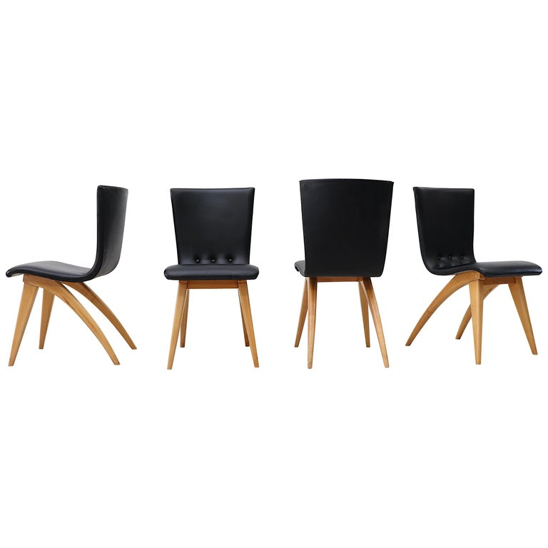 Set of 4 Van Os Black Dining Chairs For Sale