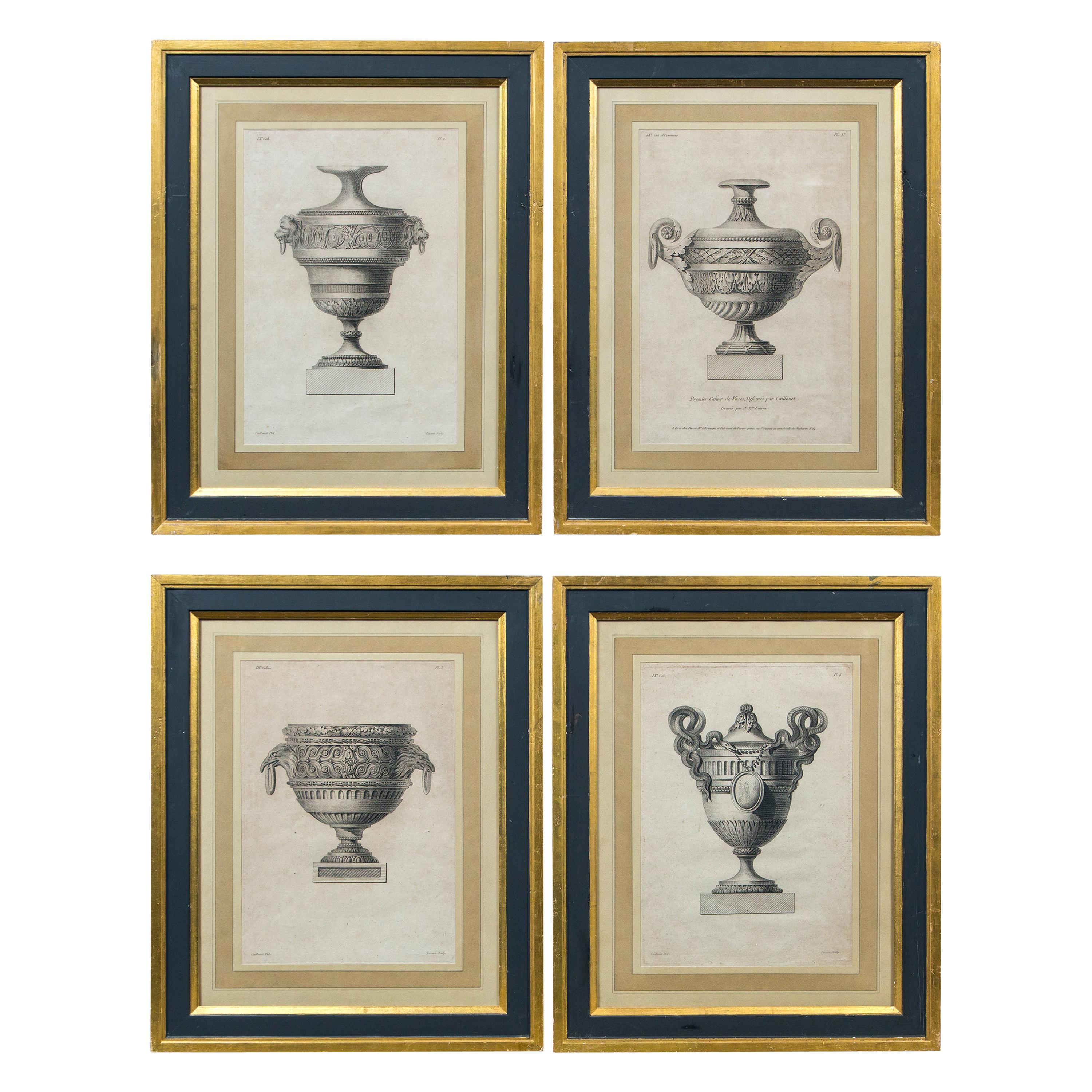 Set of 4 'Vase' Engravings by Andre-Louis Caillouet, France, Late 18th Century