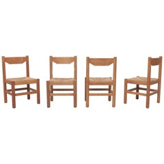Set of 4 Vico Magistretti Attribute Oak and Rush Dining Chairs