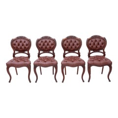 Set of 4 Victorian circa 1870 Mahogany Leather Dining Chairs