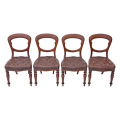 Set of 4 Victorian circa 1880 Mahogany Leather Balloon Back Dining Chairs