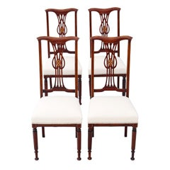 Set of 4 Victorian circa 1900 Art Nouveau Inlaid Mahogany Dining Chairs