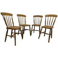 Set of 4 Victorian Elm Seated Stick Back Kitchen Dining Chairs