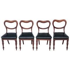 Set of 4 Victorian Mahogany Balloon Back Dining Chairs