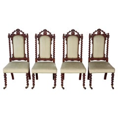 Set of 4 Victorian Mahogany Twist High Back Dining Chairs