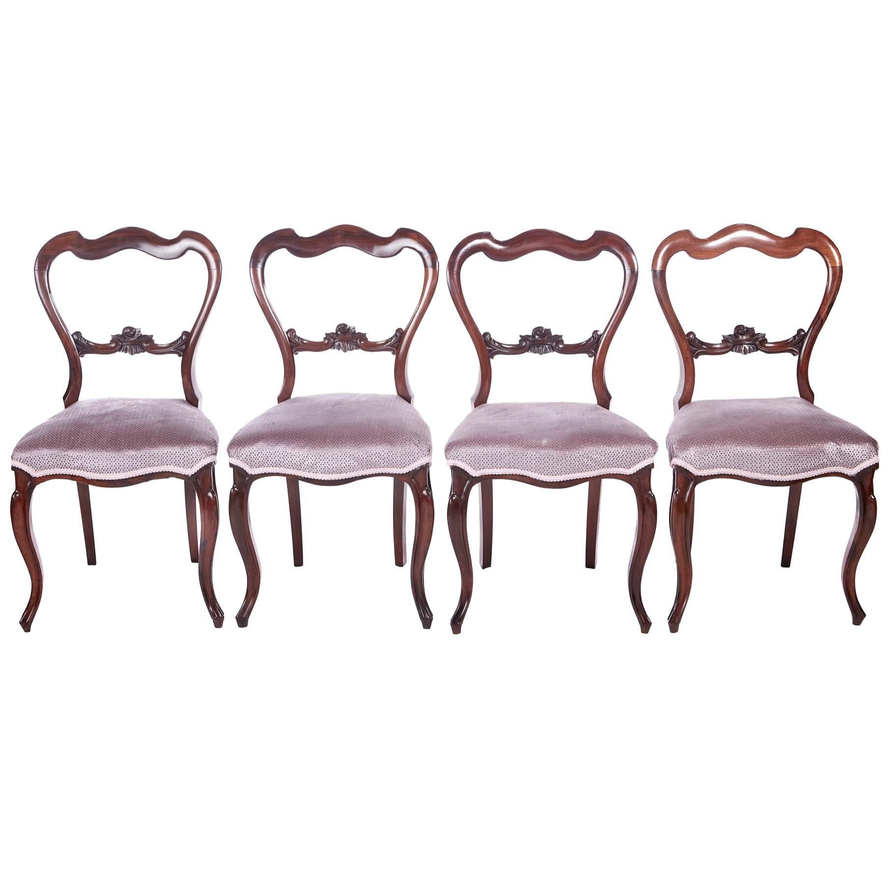 Set of 4 Victorian Rosewood Dining Chairs