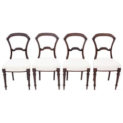 Set of 4 Victorian Walnut Balloon Back Dining Chairs, circa 1880