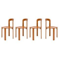 Mid-Century Modern, 4 Rey Chairs by Bruno Rey, Color Vintage Cherry, Design 1971