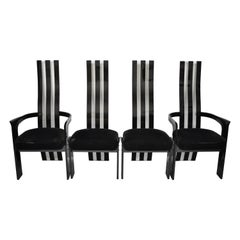 Set of 4 Vintage Black and Clear Lucite High Back Sculptural Dining Chairs