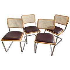 Set of 4 Vintage Breuer Caned and Chrome Cantilever Chairs