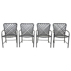 Set of 4 Vintage Brown Jordan Tamiami Patio Pool Dining Armchairs