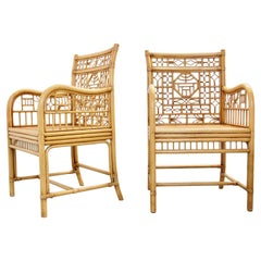 Set of 4 Vintage Chinoiserie Chique Bamboo Chairs