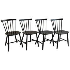Set of 4 Vintage Danish FDB Black Ebonized Dining Chairs J46