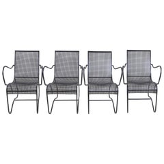 Set of 4 Vintage France Black Iron Chairs